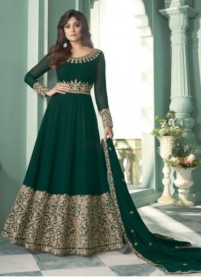 Shamita Shetty Faux Georgette Green Designer Suit