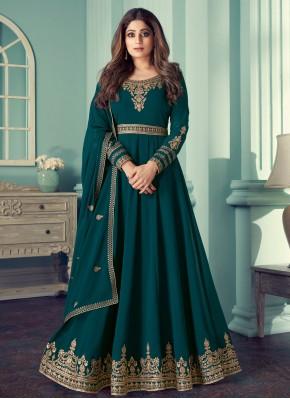 Shamita Shetty Faux Georgette Resham Teal Designer Suit