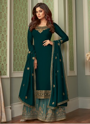 Shamita Shetty Faux Georgette Teal Embroidered Pal