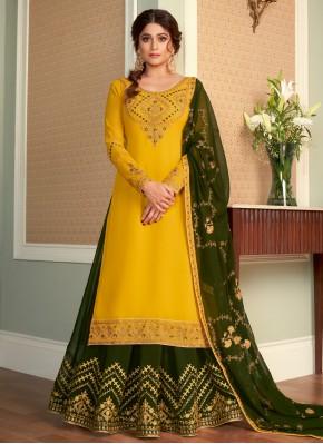 Shamita Shetty Gorgonize Green and Yellow Long Choli Lehenga