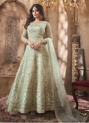 Shamita Shetty Green Net Floor Length Anarkali Suit