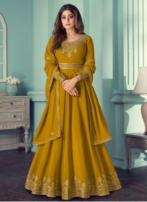 Shamita Shetty Mustard Faux Georgette Designer Suit