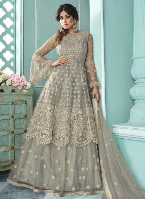 Shamita Shetty Net Resham Grey Long Choli Lehenga