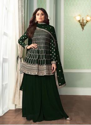 Shamita Shetty Palazzo Designer Salwar Kameez For Festival
