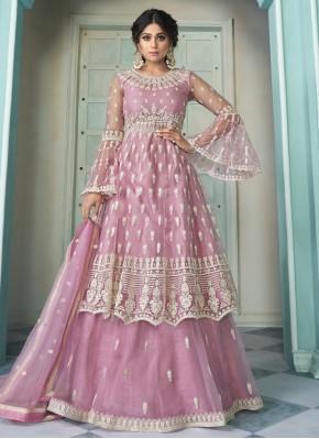 Shamita Shetty Pink Net Lace Long Choli Lehenga