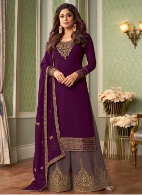Shamita Shetty Purple Designer Palazzo Salwar Kame
