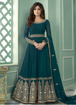 Shamita Shetty Teal Faux Georgette Designer Suit