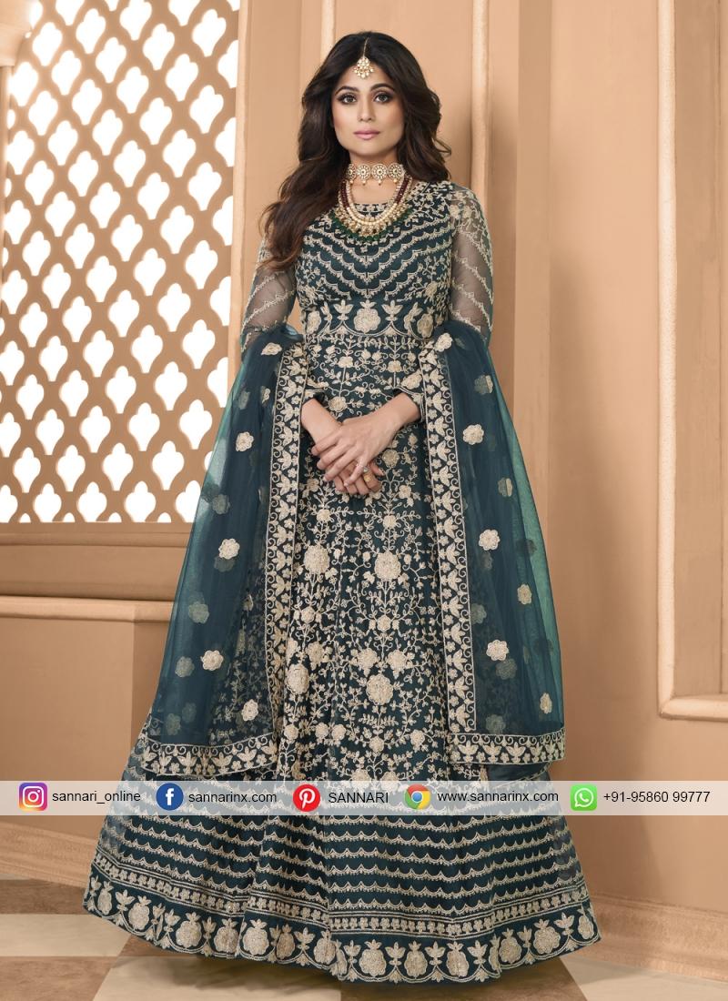 Shamita Shetty Teal Net Floor Length Anarkali Suit