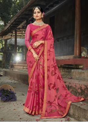 Sightly Abstract Print Pink Printed Saree