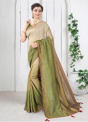 Sightly Green Festival Shaded Saree