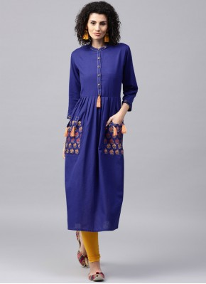 Sightly Patchwork Blue Cotton Casual Kurti