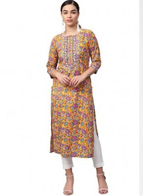 Sightly Print Cotton Party Wear Kurti