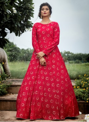 Sightly Printed Pink Trendy Gown
