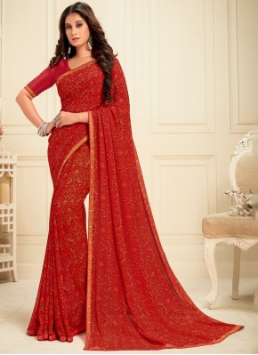 Sightly Red Party Casual Saree