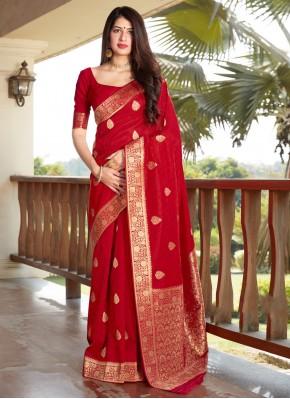 Sightly Red Traditional Designer Saree