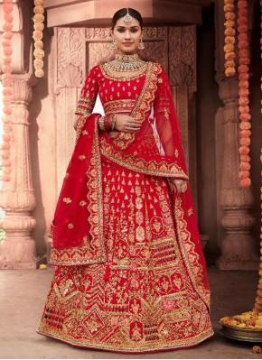 Silk A Line Lehenga Choli in Red
