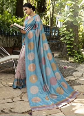 Silk Abstract Print Printed Saree in Multi Colour