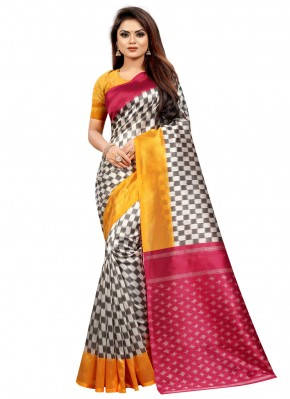 Silk Abstract Print Traditional Saree in Multi Colour