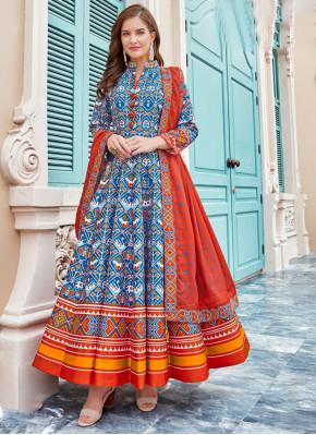 Silk Anarkali Salwar Kameez in Multi Colour