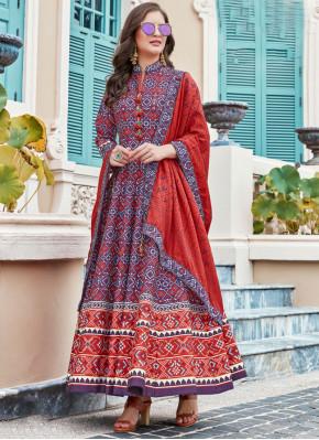 Silk Anarkali Salwar Suit in Multi Colour