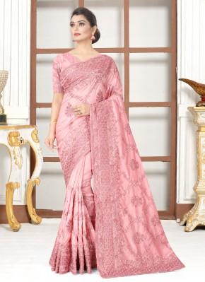 Silk Aqua Blue and Pink Embroidered Traditional Designer Saree