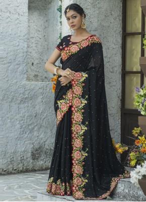 Silk Black Traditional Designer Saree