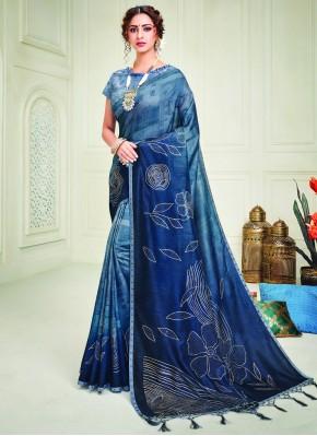 Silk Blue Crystal Contemporary Style Saree