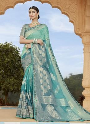 Silk Blue Embroidered Classic Designer Saree