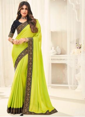 Silk Border Traditional Saree in Green