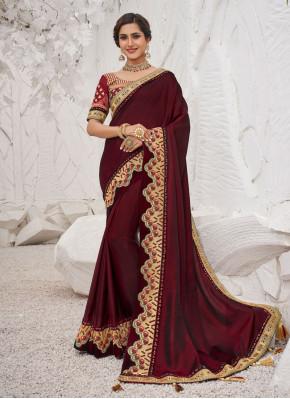 Silk Classic Saree in Maroon