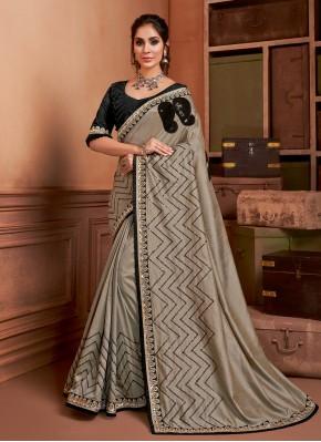 Silk Contemporary Saree in Grey