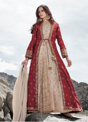 Silk Cream and Red Resham Anarkali Salwar Suit