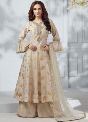 Silk Cream Designer Salwar Kameez