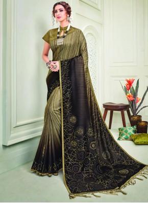 Silk Crystal Brown Traditional Designer Saree