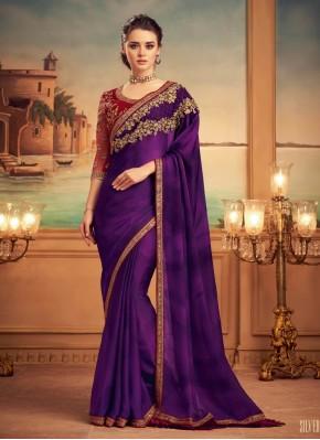 Silk Designer Saree in Purple