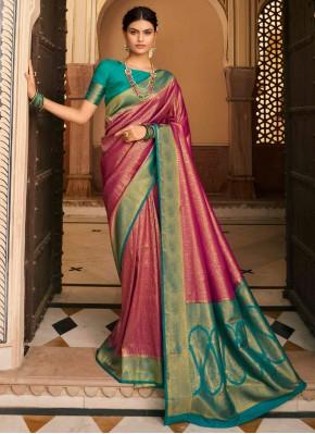 Silk Designer Traditional Saree in Pink