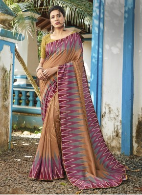 Silk Digital Print Brown Classic Saree