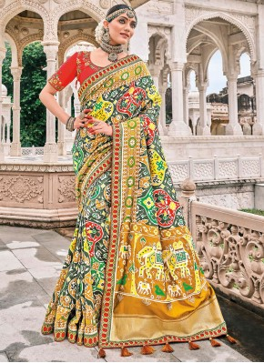 Silk Embroidered Bollywood Saree in Multi Colour
