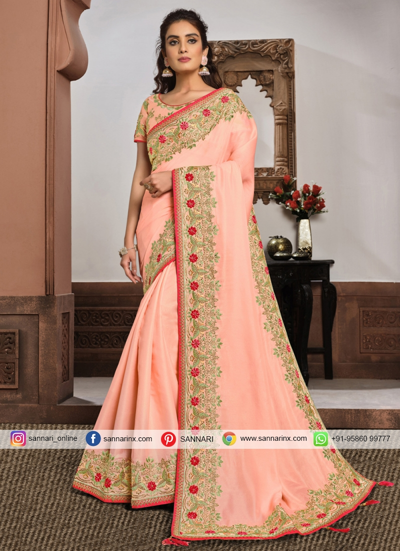 Silk Embroidered Classic Designer Saree in Pink