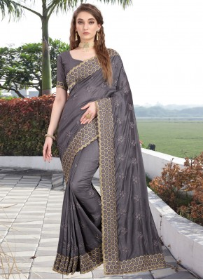 Silk Embroidered Classic Saree in Grey