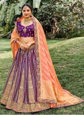Silk Embroidered Designer Lehenga Choli in Purple