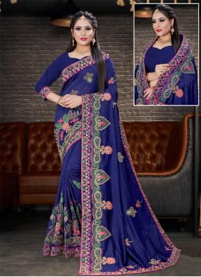 Silk Embroidered Designer Saree in Navy Blue