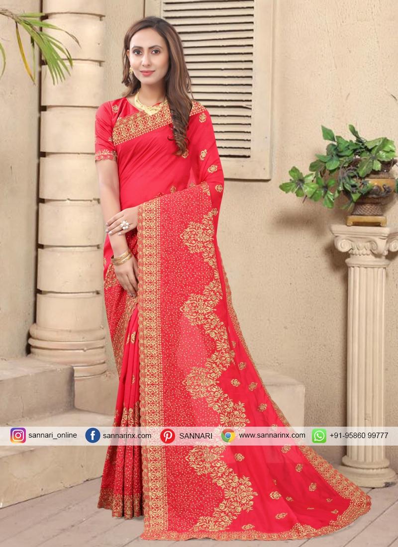 Silk Embroidered Designer Saree in Pink