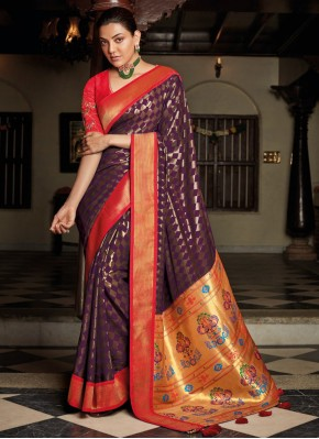 Silk Embroidered Designer Traditional Saree in Purple