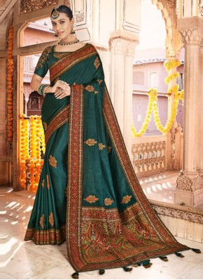 Silk Embroidered Designer Traditional Saree in Teal