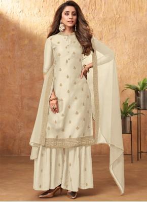 Silk Embroidered Off White Designer Pakistani Salwar Suit