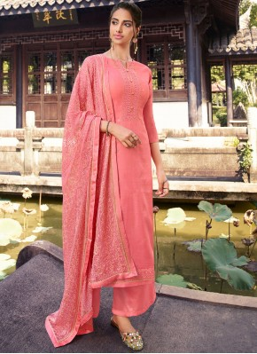Silk Embroidered Pink Designer Palazzo Suit