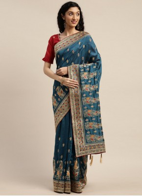 Silk Embroidered Teal Designer Traditional Saree
