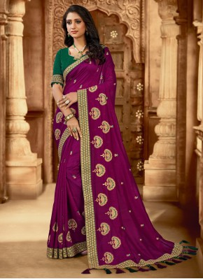 Silk Embroidered Traditional Saree in Purple
