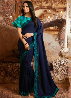 Silk Embroidered Traditional Saree in Teal